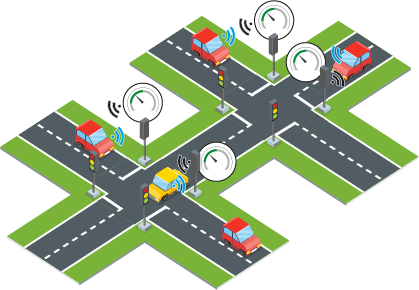 Illustration of cars and traffic lights communicating