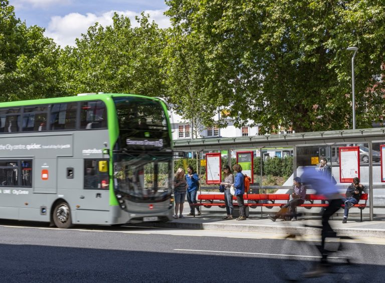 Bus in Bristol picking up passengers