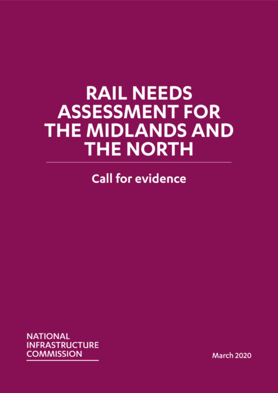 Cover of the Rail Needs Assessment Call for Evidence report