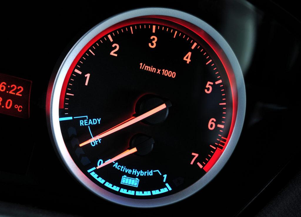 Tachometer and hybrid energy indicator