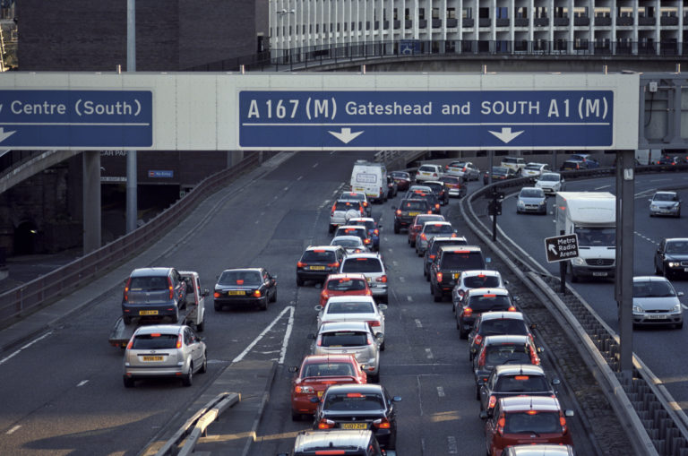 Congestion on an arterial road in central Newcastle