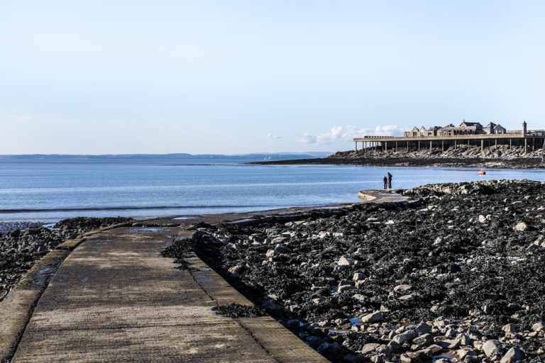 The sea at low tide in Weston-super-Mare in Somerset