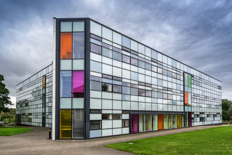 Colourful building at the Open University in Milton Keynes
