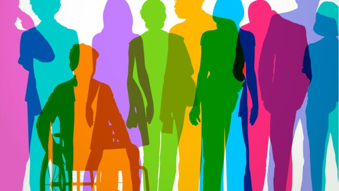 Colourful overlapping silhouettes of Professional or Business people.