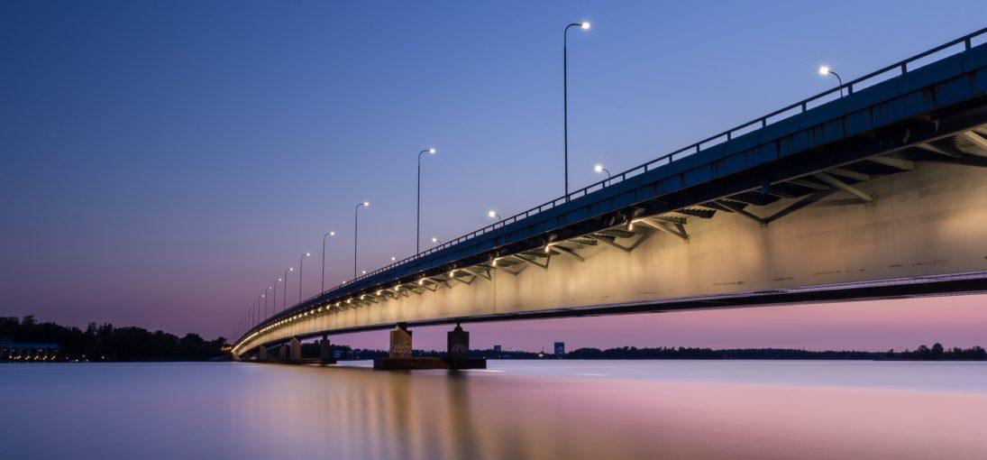 Footbridge and sunset