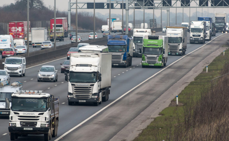 Lorries on a busy UK motorway